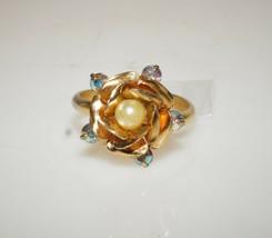 Vintage Blooming Rose Aurora Borealis Rhinestone Cocktail Ring Adj. Gold... - $11.70