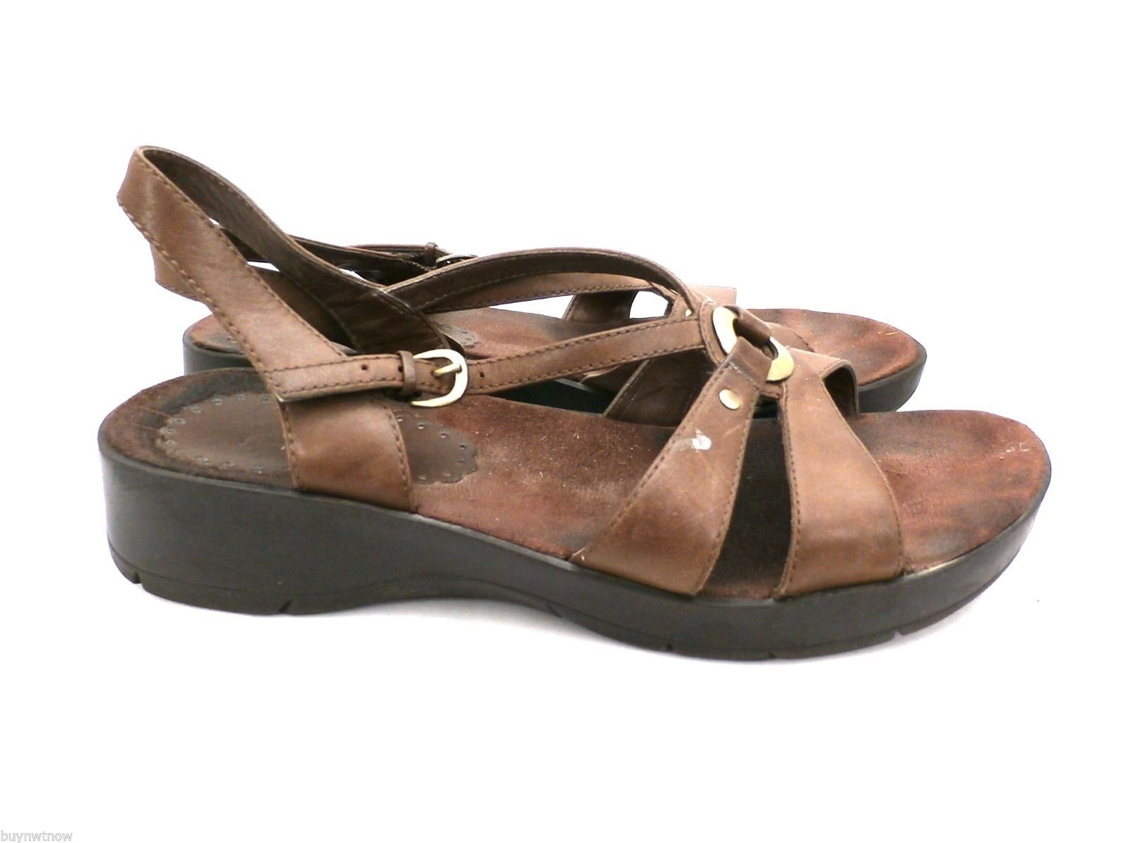 Womens Wear Ever Brown Leather Sandals Comfort Ostep 8.5 M image 2
