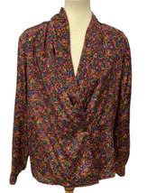 """Vintage impressions 80"""" women's blouse long sleeve polyester size 14 - $22.66"""