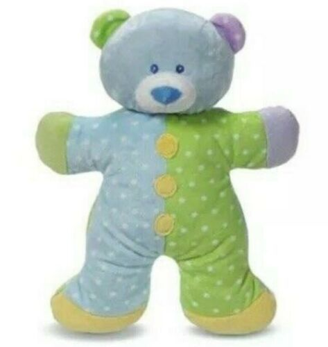 Primary image for NWT Baby Ganz Snuggles Puppy Plush Rattle Blue Green Dots 13""