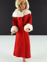 Barbie Vintage Red Long Coat White Faux Fur Collar & Cuffs Clone 1960s C... - $29.69