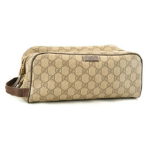 GUCCI GG PVC Leather Clutch Bag Brown Auth sa2157 - $360.00