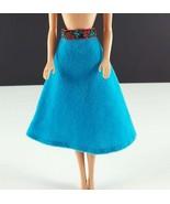 Barbie Blue Felt A Line Skirt Floral Waistband Clone 1960s Clothing - $15.83