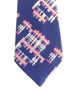 Lilly Dache Tie Black Herringbone Weave w/Abstract Plaid Accent Silk Vin... - $24.06
