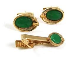 Vintage Goldtone & Green Cufflinks & Matching Tie Clasp 42117 - $19.79