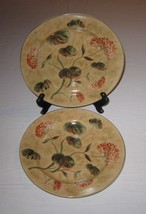 222 Fifth PTS International Asian Antique Tan Floral Salad Plates Lot of 2 - $5.93