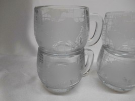 Old Vtg NESCAFE COFFEE CUPS ETCHED FROSTED WORLD GLOBE TASTE YOUR WAY SET 6 - $98.99