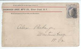 1880s Shumaker Bros Manufacturing Company Silver Creek NY Cover w/ Scott... - $7.69