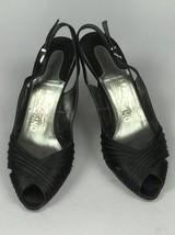 Salvatore Ferragamo Black Satin Leather Slingback Open Toe Women's Shoes Size 37 - $67.31