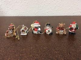 "Christmas Ornaments Lot Small Enesco Snowman Santa Teddy Bear 1""-2"" - $11.88"