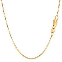 "14k Yellow Gold Classic Mirror Box Chain Necklace, 0.85mm, 16"" - $219.41"