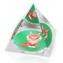 "Orange Cartoon Cat Cute Animal Art 2"" Crystal Pyramid Paperweight - $15.99"
