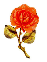 Vintage Carved Celluloid Coral Rose Flower Gold Tone Leaves Pin Brooch - $28.22