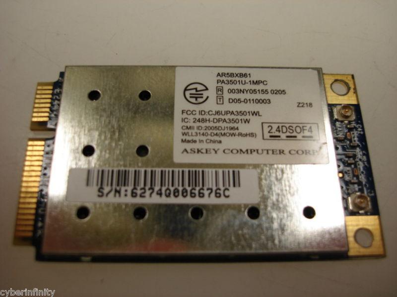 Toshiba Satellite A135 A215 Wireless Wifi Card K000044850 AR5BXB61 PA3501U-1MPC
