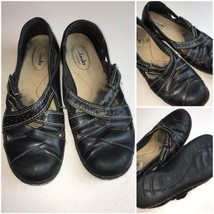 Clarks Bendables Womens Size 7.5 Leather Mary Jane Loafer Slip On Flats - $19.81