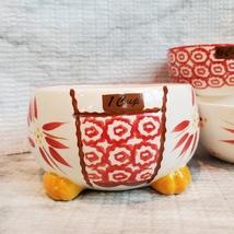 Nesting Measuring Cups, 4 piece set, Vintage ceramic, Temp-Tations Red Floral image 3