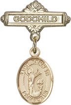 14K Gold Baby Badge with St. Kenneth Charm and Godchild Badge Pin 1 X 5/8 inch - $446.25