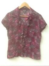 Ann Taylor sheer silk print blouse short sleeve ruffle front purples/gra... - $10.95