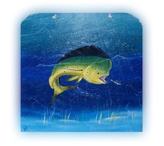 Mahi Dolphin Fish Painted Slate nautical Marine life decor painting wall... - $49.00