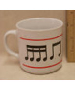 Music Theme Coffee Mug Cup Music Notes Staff Black & Red on White - $10.34