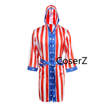 Rocky Balboa Apollo Movie Boxing American Flag Cosplay Shorts Robe Boxing Costum - $69.00