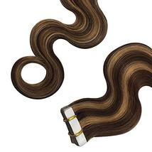 Komorebi Body Wave Human Hair Extensions Tape in Extensions Balayage Color Choco image 6
