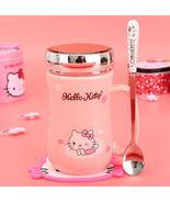 Cartoon Hello Kitty Sleep Mug Pink Coffee Tea Milk Cup 400ML + Lid + Spoon - $37.75