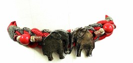 Red & Gold Metal Braided Cloth Elephant Carolyn Tanner Vintage Adjustabl... - $23.97