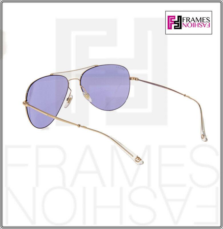GUCCI TECHNO 0500 Aviator GG2245S Gold Lilac Mirrored Sunglasses Unisex 2245