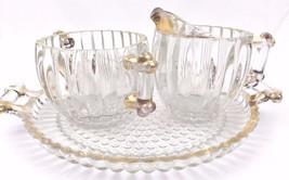 Vintage Jeanette Clear Hobnail Sugar Bowl Creamer Tray Set Gold Trim Ribbed - $29.69