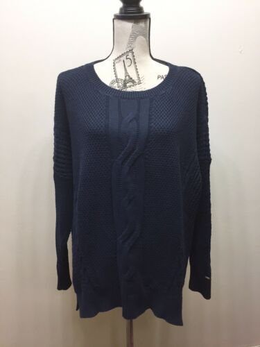 Tommy Hilfiger Women Loose Fit Cable Knit Sweater Navy Blue XL