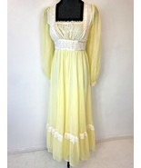 Vintage 1970s Gunne Sax? Yellow White Peasant Prairie Dress size XS 5 US... - $49.95
