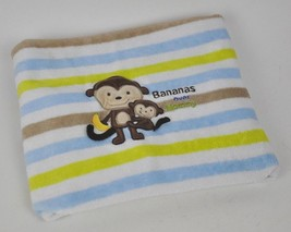 CARTERS Bananas OVER Mommy STRIPED Plush BABY Blanket Lovey Security MON... - $30.10 CAD