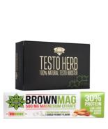 Protein Bar Peanut Magnesium + Testo Herb Tablets Fenugreek Testosterone... - $24.74
