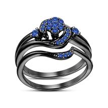14K Black Rhodium FN 925 Silver Round Cut Blue Sapphire Wedding Bridal Ring Set - $79.97