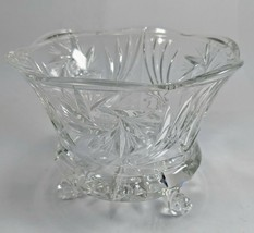 Vintage Pinwheel Fan 3 Footed Crystal Molded Glass Candy Dish - $9.49