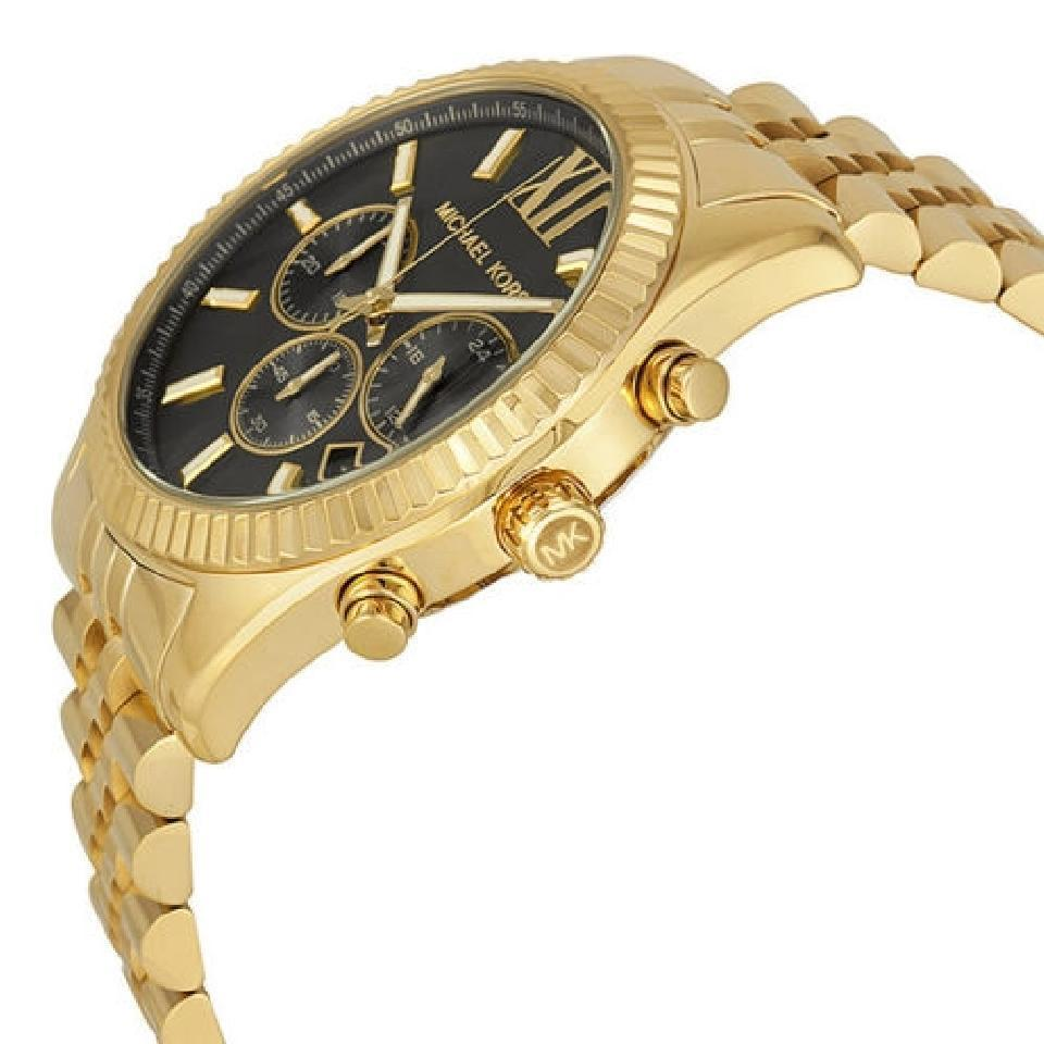 c400583b809b Michael Kors MK8286 Lexington Chronograph Black Dial Gold tone Men s Wrist  Watch