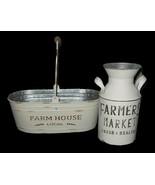2 Farmhouse Galvanized Metal Rustic Dairy Jug Planter Bucket NEW FREE SH... - $69.29