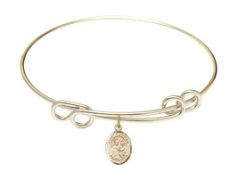 Saint Anthony of Padua 8 1/2 Round Loop 14kt Gold Filled Bangle Bracelet - $79.99