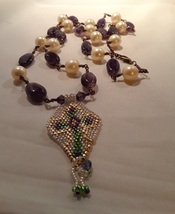 Purple Amethyst Stones with Pearls Cross Beadwork Pendant with Rosary S... - $39.00