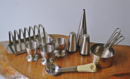 Vintage Stainless Steel Kitchen Set, Salt And P... - $125.95