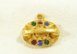 PRINCESS PHONE Charm Rhinestones Jewel Tone Gold Plate Rotary Vintage Es... - $12.86