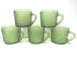 5 VTG Anchor Hocking Soreno Green Crinkle Glass Retro Coffee Mugs Tea Cups MCM - $32.64