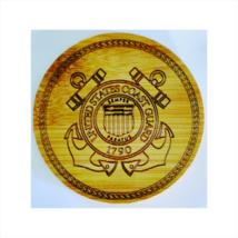 Coasters Set Military Coast Guard Set/4 W/Holder Bamboo Laser Engraved C... - $15.95