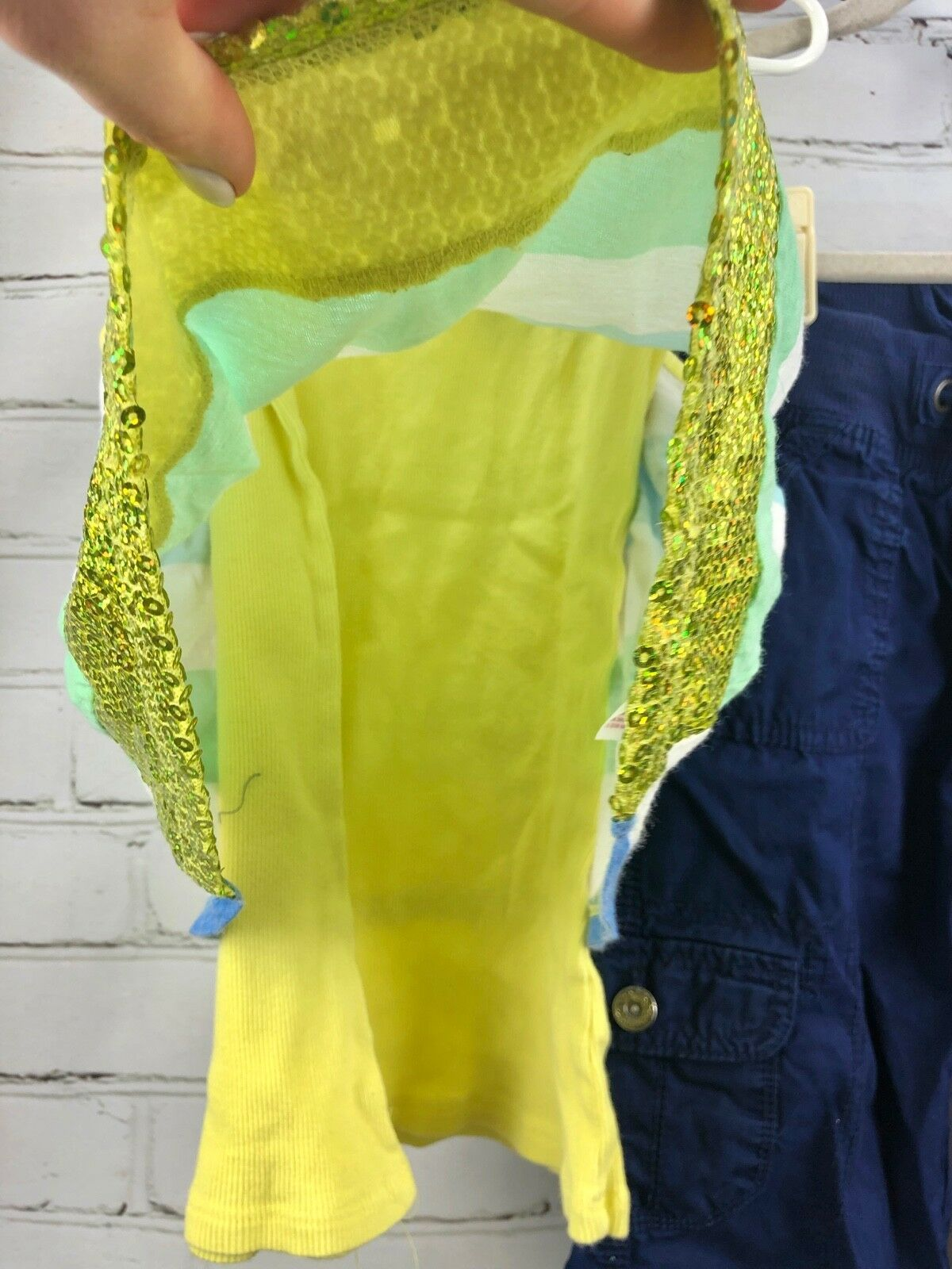 Justice Outfit Set - Layered cotton Tank Top + Roll Up Capri Pull On Pants Sz 10 image 3