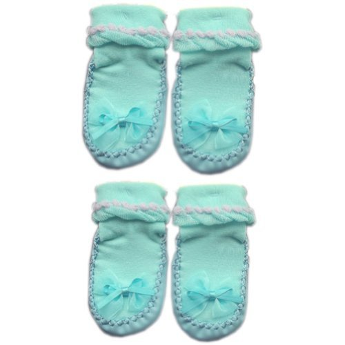 Bowknot Infant Anti Skid Slip Baby Newborn Shocks Toddler Shoes 2 Pack Blue