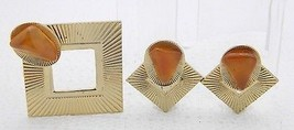 VTG Gold Tone Modern Textured Square Topaz Stone Pin Brooch Clip Earring... - $29.70