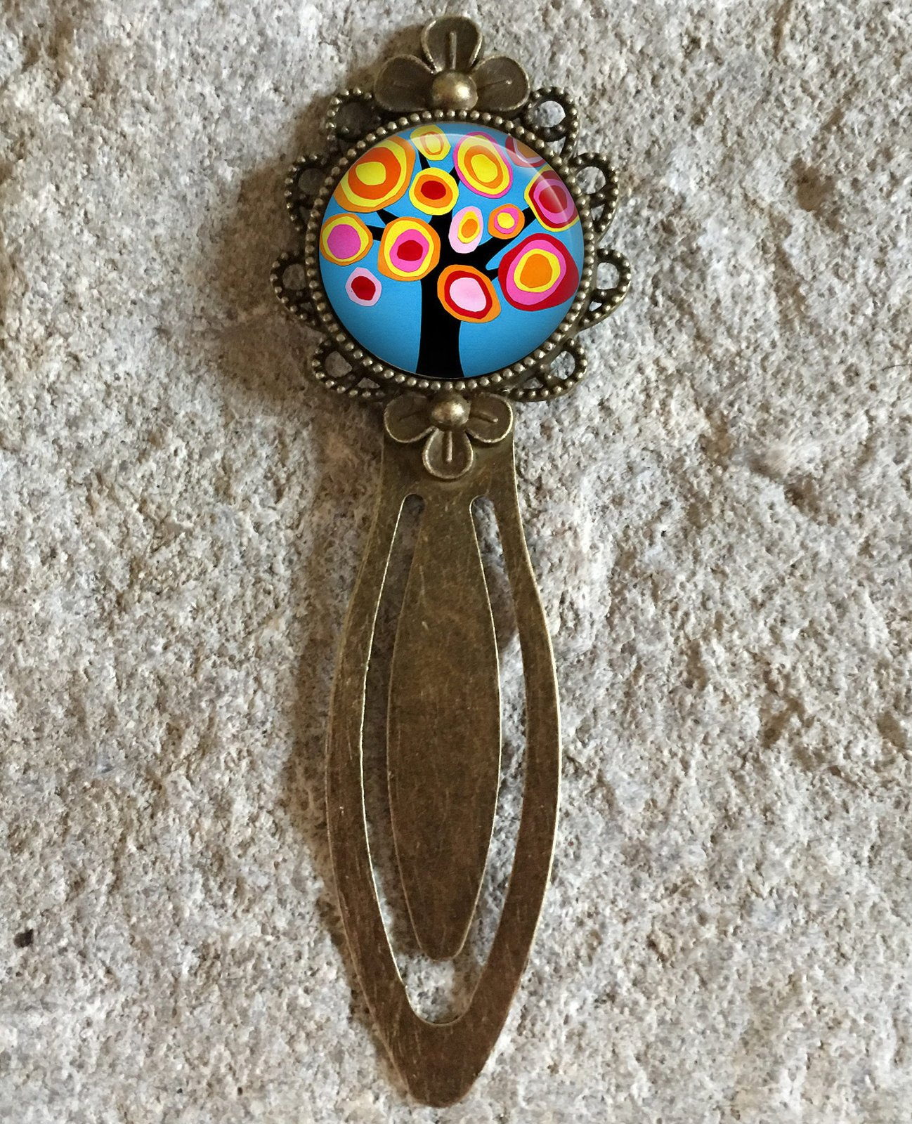 Kandinsky Tree Collage Art Glass Dome Round Cabochon Flower Bookmark Gift UK