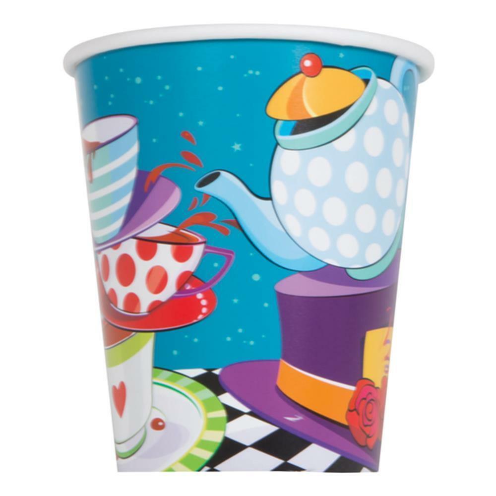 Mad Hatter Tea Party Paper Cups Alice in Wonderland Birthday Party Supplies 8 Ct