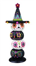Day Of The Dead Stacked Pumpkins Halloween Figurine Decor - $30.99